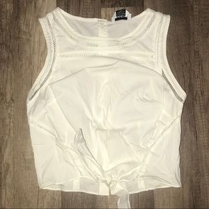 Bebe white crop top  button up back( no stains)